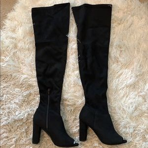 NWT Wild Diva Lounge Black Suede Over Knee Boots